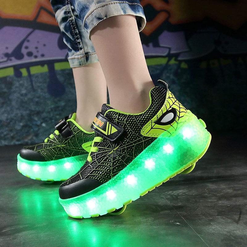 Kids LED Light USB Charging Roller Skates Double Wheels Spider Man Sneakers Shoes for Girls Boys