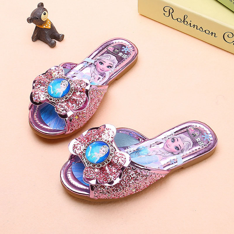 Kid Girl Sequins Lovely Princess Frozen Elsa Indoor Outdoor Slippers Sandals Shoes