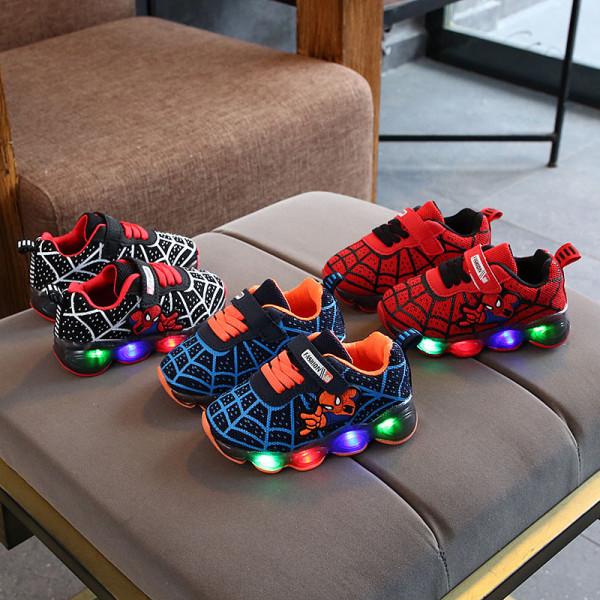 Kids Boy Sneakers LED Light Shining Spider Man Net Running Sport Sneakers