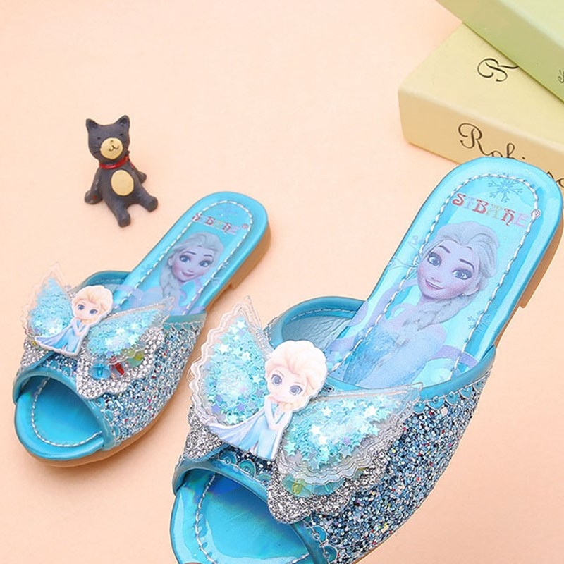 Kid Girl Sequins Jewelry Bowknot Wing Frozen Elsa Slippers Sandals Shoes