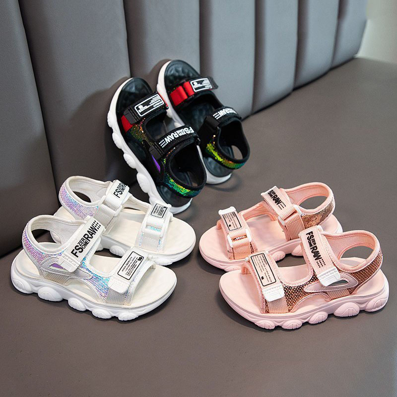 Kid Girl Sequins Letters Beach Sandals Shoes