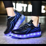 Kids LED Light USB Charging Roller Skates Double Wheels Sneakers Shoes for Girls Boys