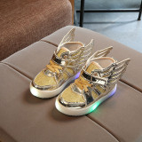 Toddler Kid Girl LED Light Bright Leather Upper With Wings Sneakers Shoes