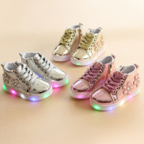 Toddler Kid Girl LED Light Shining Bright Zircon Flower Leather Sneakers Shoes