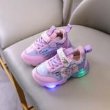 Toddler Kids Girl LED Light Frozen Leather Slip On Sneakers Shoes