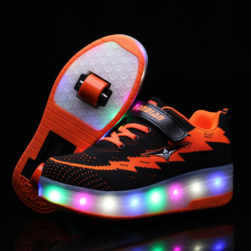 Kids LED Light USB Charging Roller Skates Double Wheels Mesh Sneakers Shoes for Girls Boys
