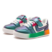 Kids Macthing Rainbow Color Sneakers Flat PU Leather Shoes