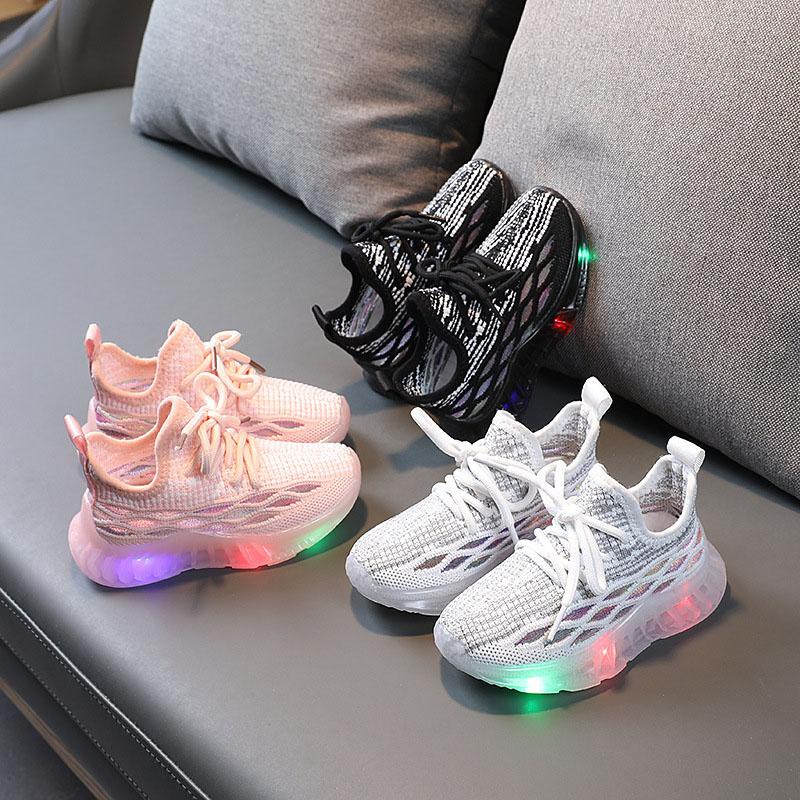 LED Light Kids Shoes Net Surface Lightweight Plaids Mesh Sport Sneakers Shoes