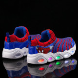 Kids LED Light Spider Man Breathable Sports Sneakers Shoes