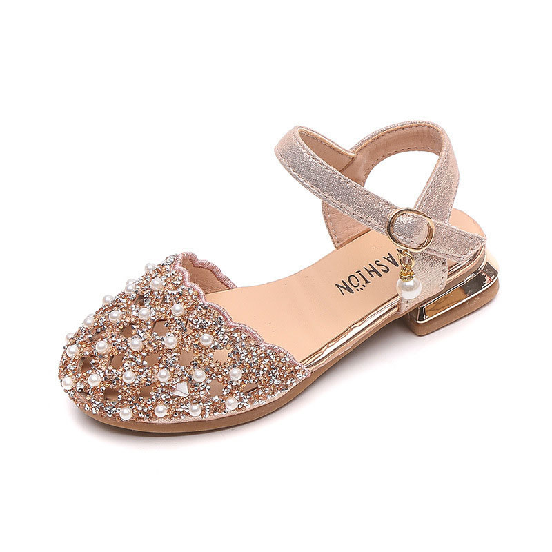 Kid Girl Crystal Diamond Pearls Sequins Sandals Wedding Dress Shoes
