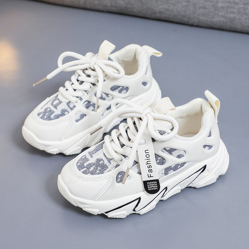 Kids Letter Embroidery Mesh Breathable PU Leather Running Sport Sneakers Shoes