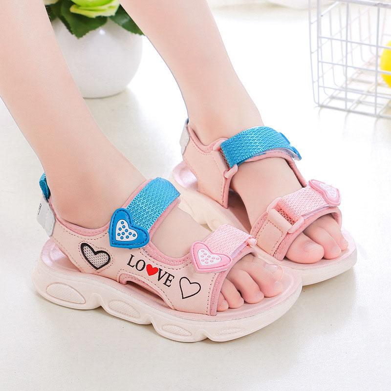 Kid Girl Love Heart Lightweight Sandals Summer Shoes