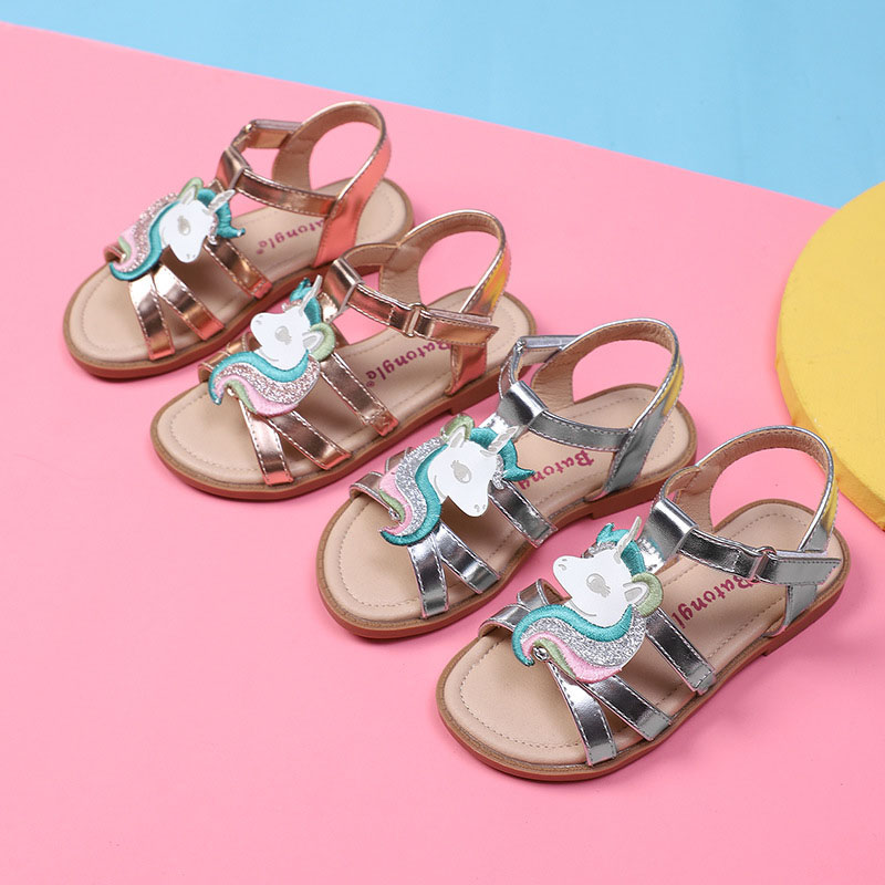 Kid Girl Embroidery Unicorn Glitter Sandals Shoes