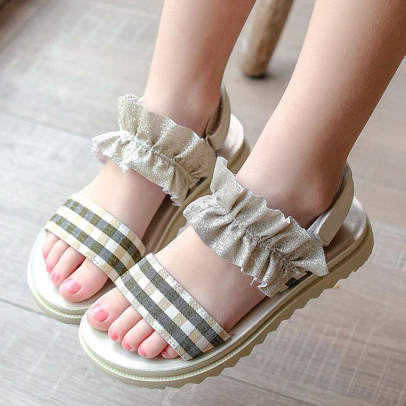 Kid Girl Ruffles Plaid Sandals Shoes