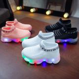 Toddler Kids LED Light Fashion Socks Slip On Sneakers Shoes