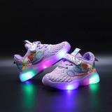 Toddler Kid Girl LED Light Shining Hello Kitty Mesh Breathable Sport Sneakers Shoes