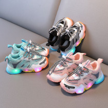 Toddler Kid LED Light Mesh Breathable Slip On Jelly Sneakers Soles