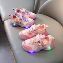 Toddler Kids Girl LED Light Frozen Mesh Breathable Slip On Sneakers Shoes