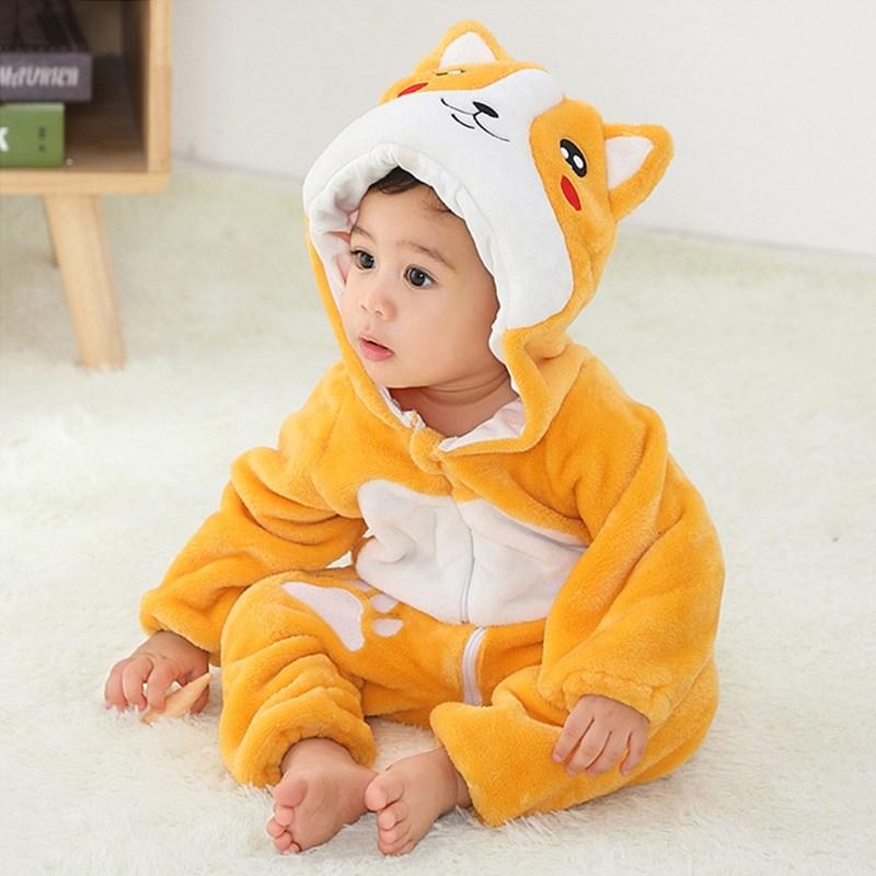 Baby Yellow Corgi Cute Dog Onesie Kigurumi Pajamas Animal Costumes for Unisex Babys