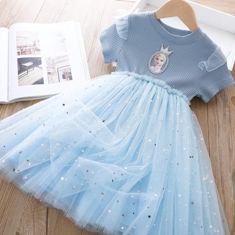 Toddler Girl Frozen Sequin Stars Ruffles Tutu Mesh Short Sleeve A-line Dresses