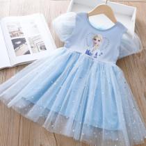 Toddler Girl Frozen Sequin Stars Ruffles Tutu Mesh Short Sleeve A-line Tutu Dresses