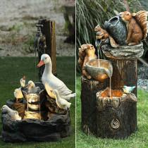 Resin Sculpture Ducks Squirrel Bathing Garden Statue Decoration Animal Garden Water Feature