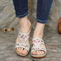 Women Hollow Out Flowers Embroidered Suede Wedge Sandals
