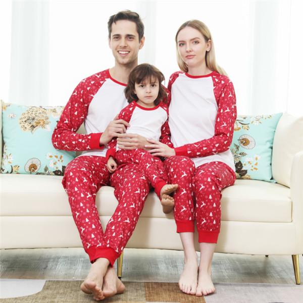 Red Christmas Deer Jingle Bell Christmas Family Matching Sleepwear Pajamas Sets