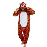 Unisex Adult Pajamas Brown Tiger Animal Cosplay Costume Pajamas