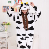 Unisex Adult Pajamas White and Black Cow Animal Cosplay Costume Pajamas