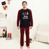Christmas Family Matching Sleepwear Pajamas Sets Plaids Trees Top and Red Plaid Pants With Dog Cloth