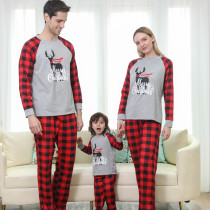 Christmas Family Matching Sleepwear Pajamas Sets Grey Deers Top and Red Plaids Pants With Dog Cloth