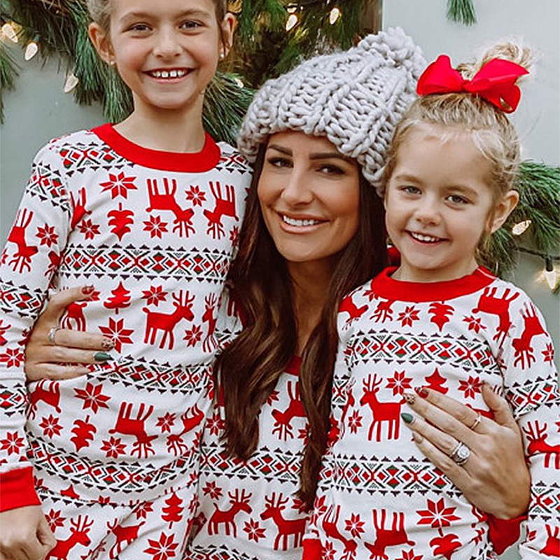 Christmas Family Matching Sleepwear Pajamas Sets Red Deers Top and Snow Pants