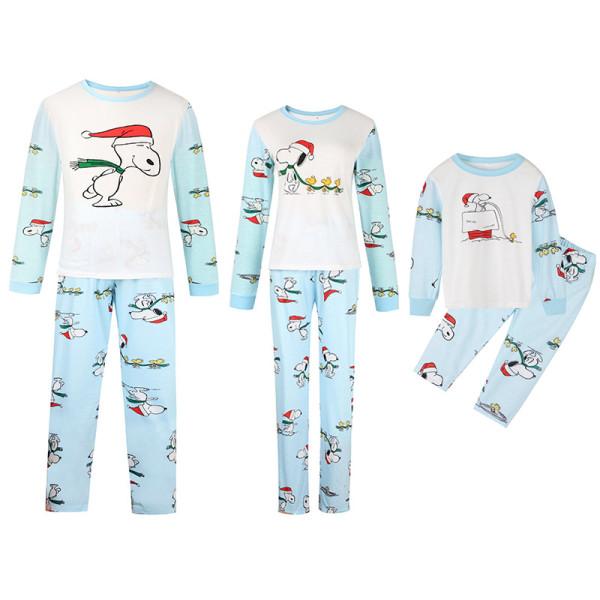 Christmas Family Matching Sleepwear Pajamas Sets Blue Cartoon Snoopy Top and Pants