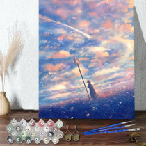 DIY Paint By Numbers Colorful Sky Oil Painting Zero Basis HandPainted Home Decor Canvas Drawing