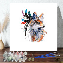 DIY Paint By Numbers Colorful Feather Wolf Oil Painting Zero Basis HandPainted Home Decor Canvas Drawing