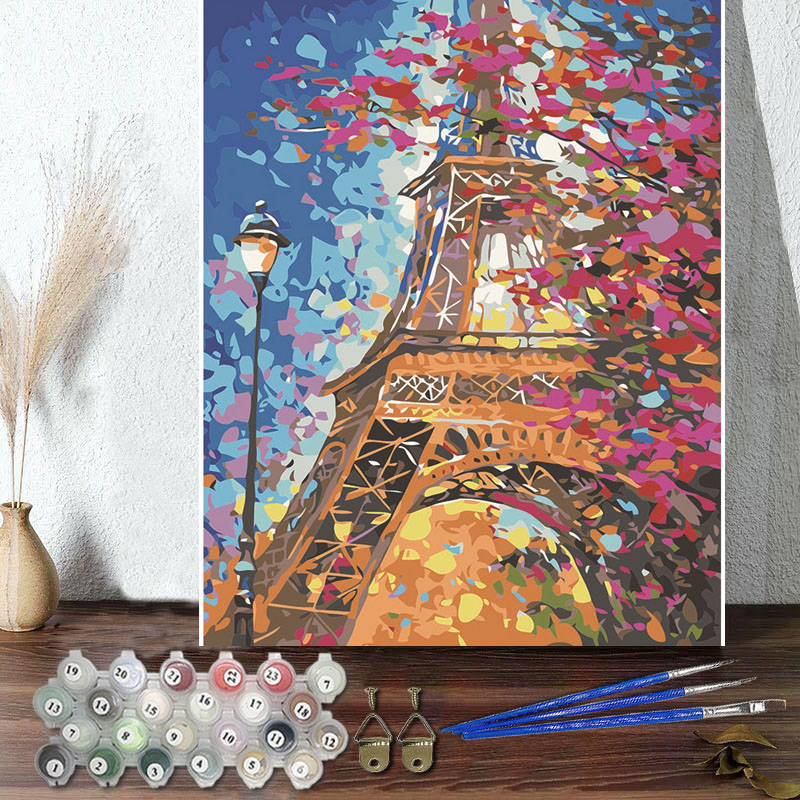 DIY Paint By Numbers Colorful Eiffel Tower Oil Painting Zero Basis HandPainted Home Decor Canvas Drawing