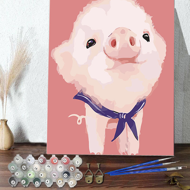 DIY Paint By Numbers Colorful Pig Oil Painting Zero Basis HandPainted Home Decor Canvas Drawing