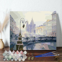 DIY Paint By Numbers Colorful City Oil Painting Zero Basis HandPainted Home Decor Canvas Drawing