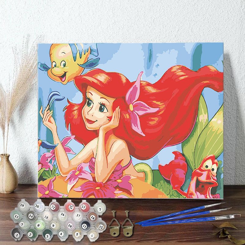 DIY Paint By Numbers Pink Mermaid Princess Oil Painting Zero Basis HandPainted Home Decor Canvas Drawing