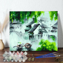 DIY Paint By Numbers Colorful Waterside Scenery Oil Painting Zero Basis HandPainted Home Decor Canvas Drawing