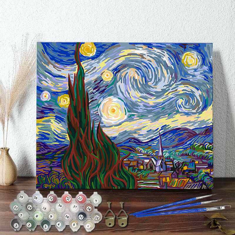 DIY Paint By Numbers Colorful Van Gogh The Starry Night Oil Painting Zero Basis HandPainted Home Decor Canvas Drawing