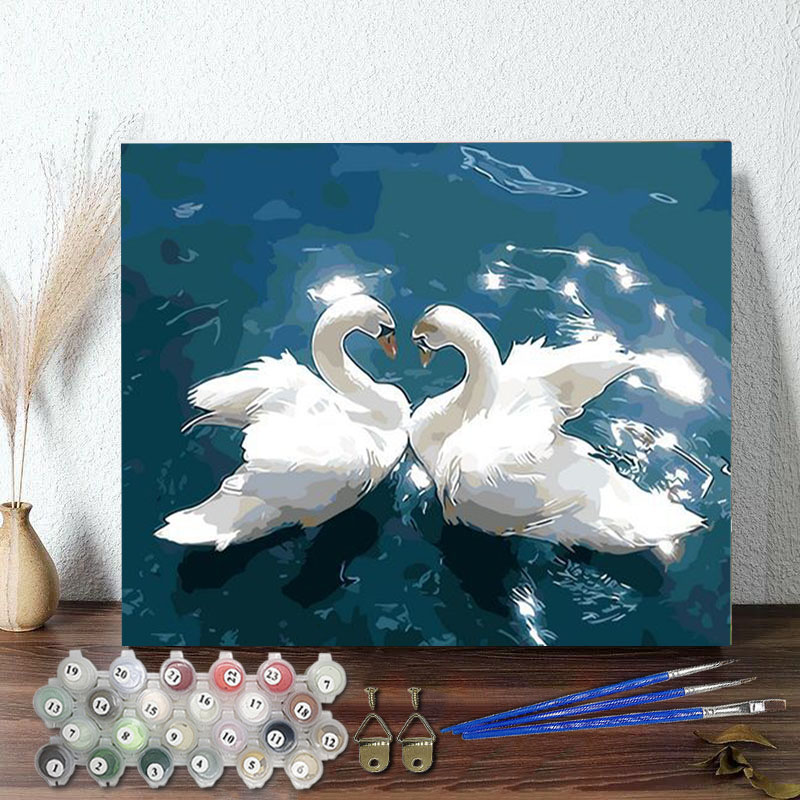 DIY Paint By Numbers Swan Blue Lake Oil Painting Zero Basis HandPainted Home Decor Canvas Drawing