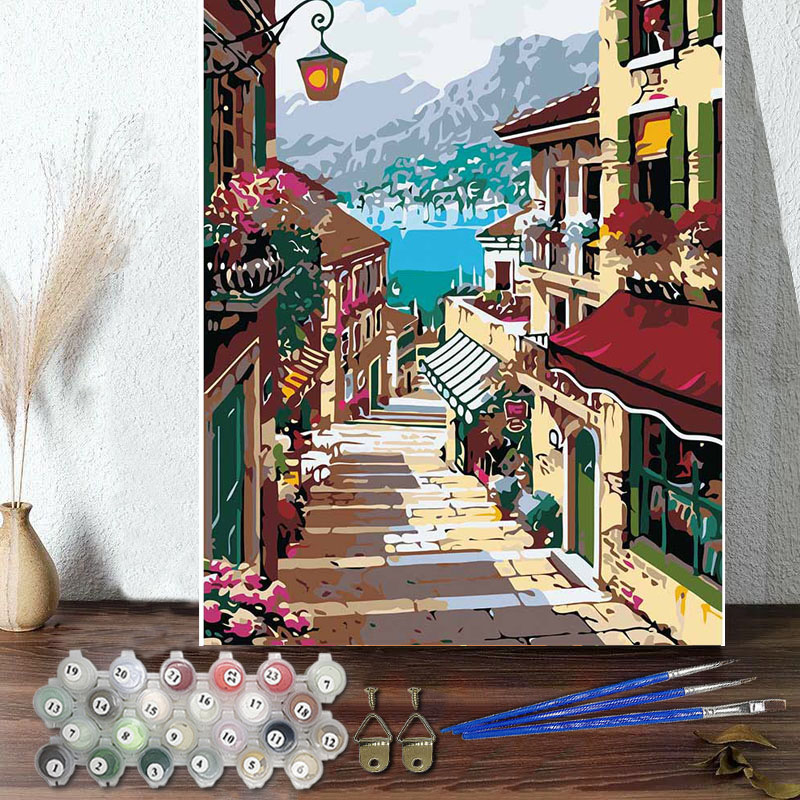 DIY Paint By Numbers Colorful Town Oil Painting Zero Basis HandPainted Home Decor Canvas Drawing