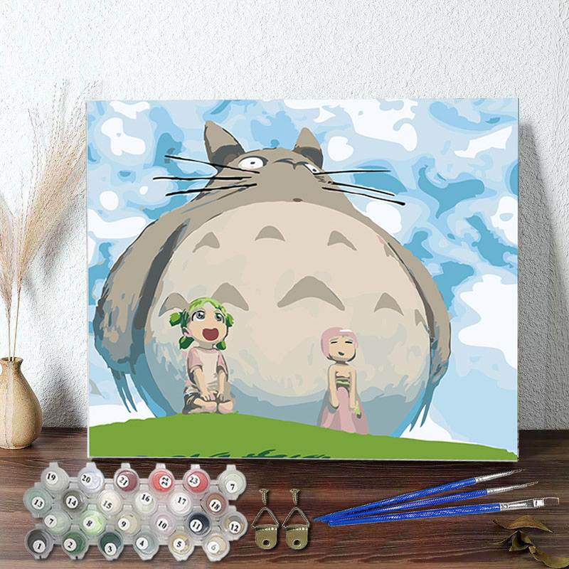 DIY Paint By Numbers Grey Totoro Oil Painting Zero Basis HandPainted Home Decor Canvas Drawing