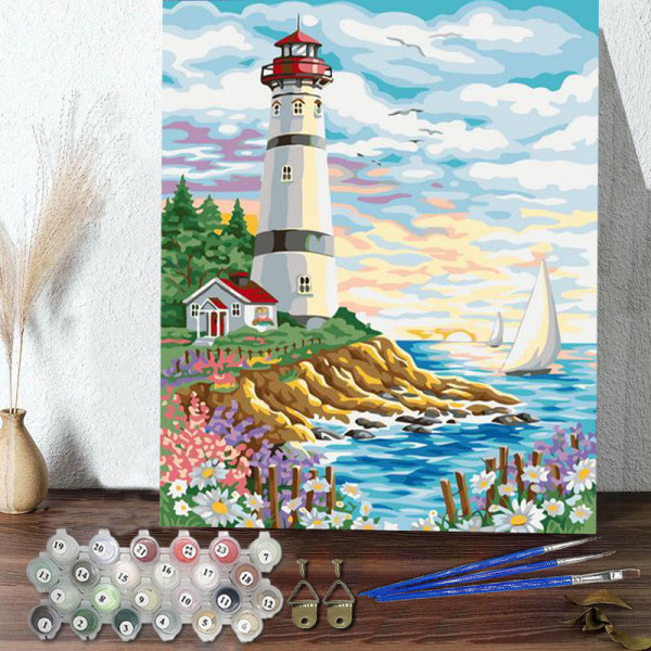 DIY Paint By Numbers Colorful Lighthouse Scenery Oil Painting Zero Basis HandPainted Home Decor Canvas Drawing