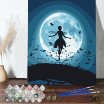 DIY Paint By Numbers Colorful Night Moon Butterflies Woman Oil Painting Zero Basis HandPainted Home Decor Canvas Drawing