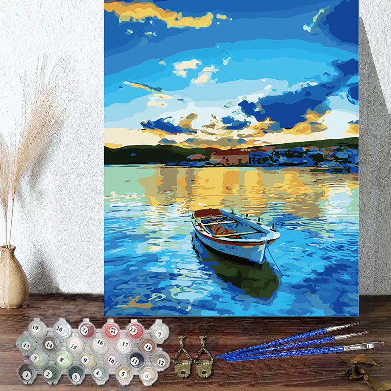 DIY Paint By Numbers Colorful Lake Oil Painting Zero Basis HandPainted Home Decor Canvas Drawing