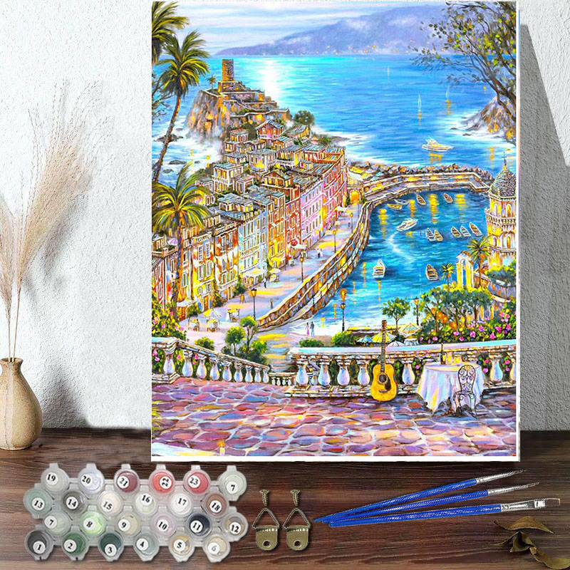 DIY Paint By Numbers Colorful Holiday Resort Oil Painting Zero Basis HandPainted Home Decor Canvas Drawing