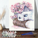 DIY Paint By Numbers Cute Cat Oil Painting Zero Basis HandPainted Home Decor Canvas Drawing